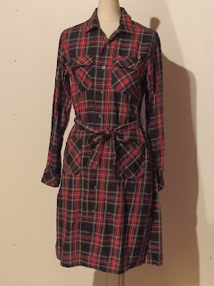 fwk by engineered garments classic shirt dress in black stewart tartan plaid