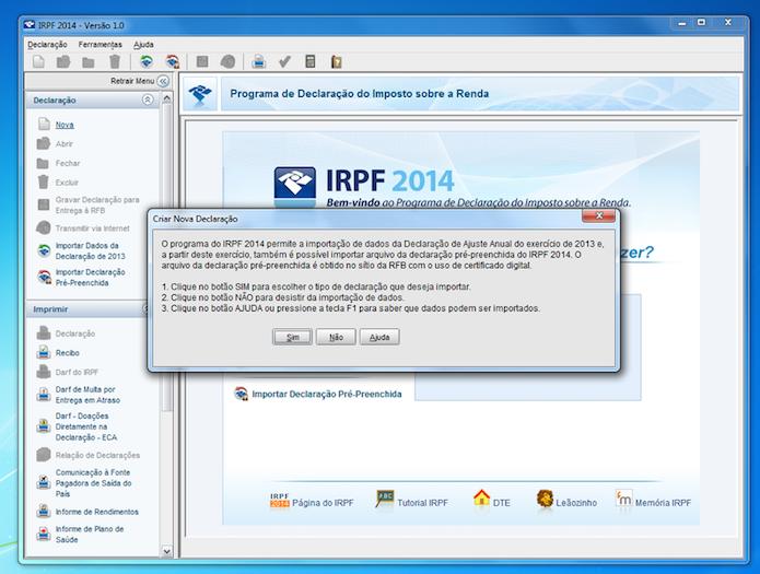 Página do  IRPF