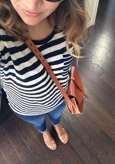 Boyfriend linen tee, striped, gladiator sandals