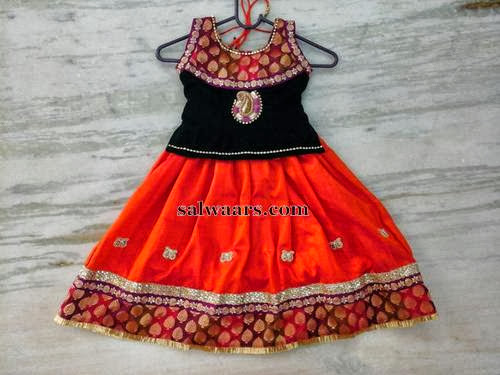 Orange Silk Simple Lehenga