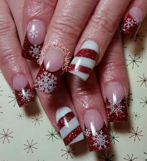 candy cane and snowflake nails