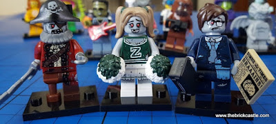 LEGO Minifigs series 14  Zombie Pirate, Zombie Cheerleader and Zombie Businessman