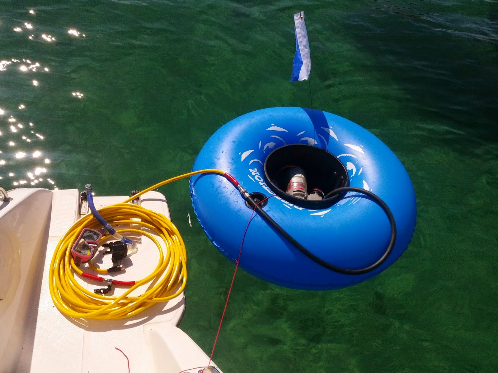 Tech hookah surface supplied air diving - Floating dive compressor ...
