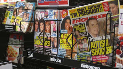 Photo of four color publications with celebrities and pseudo-celebs