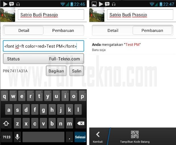 Cara Membuat Personal Message (PM) BBM Berwarna di Android