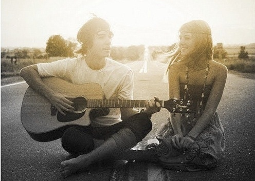 love for girls couple and guitar quotation wallpaper