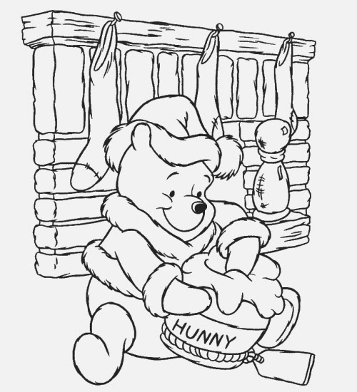 Colouring Pages Disney Winnie The Pooh : Winnie the pooh disney christmas coloring pages
