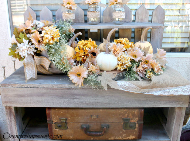 One More Time Events-Rustic Outdoor Fall Vignette-Weekly Blog Link Up Party- Treasure Hunt Thursday- From My Front Porch To Yours