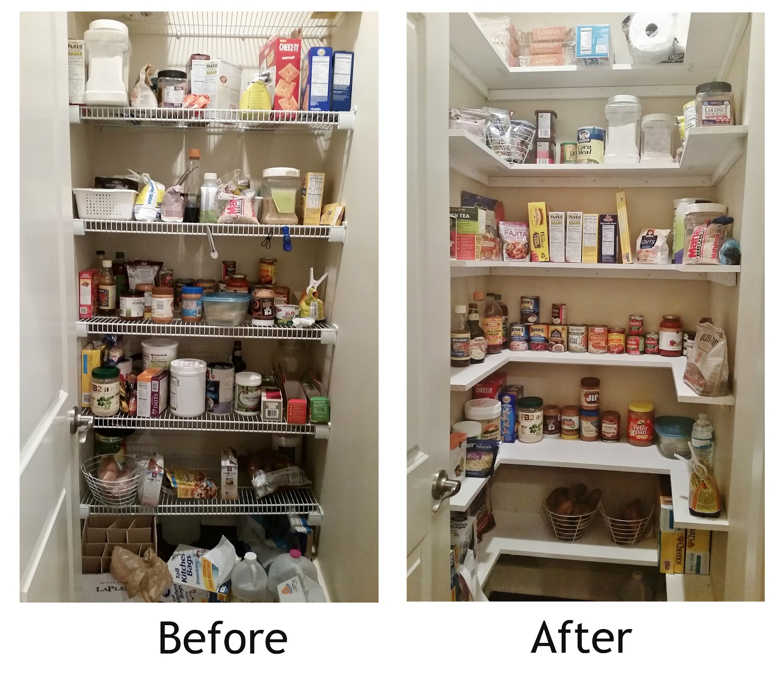 Kitchen pantry makeover replace wire shelves with wrap for Kitchen shelves design