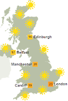 sunny conditions across the whole country in march