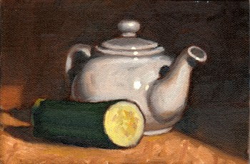Oil painting of a small white teapot beside a zucchini cut in half.