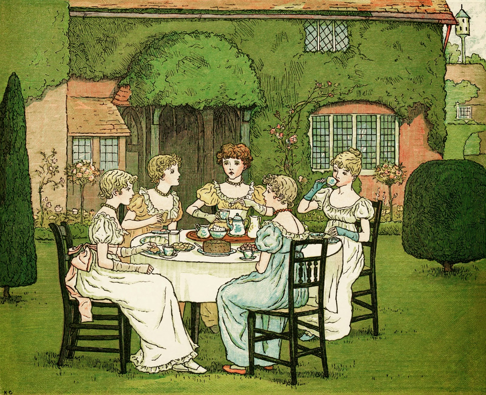 http://olddesignshop.com/2014/03/the-tea-party-by-kate-greenaway-free-vintage-storybook-image/