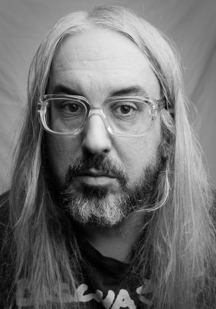 J Mascis wearing whose glasses? Please comment if you know. Photo courtesy of Sub Pop Records