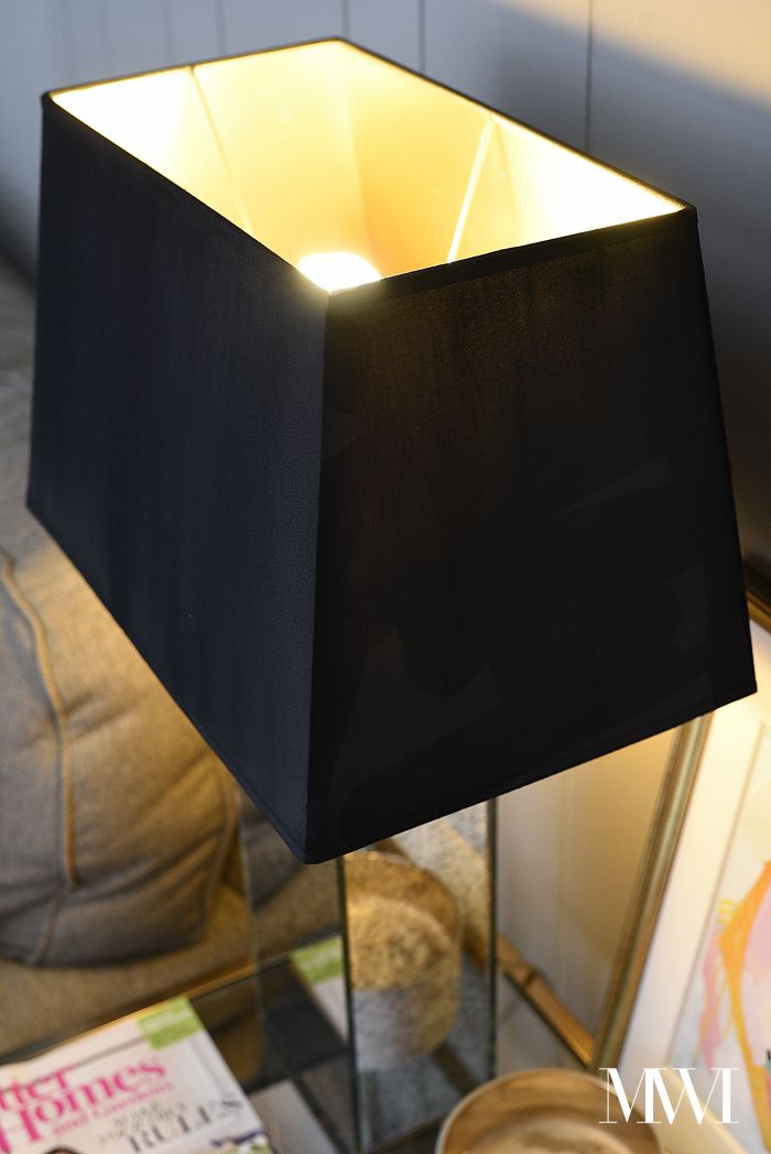 Diy black painted lampshade with gold liner monica wants it upgrade those plain white lampshades into black and gold lined beauties using some acrylic paint and aloadofball
