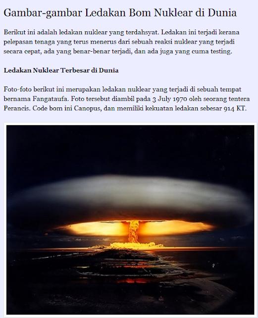 Gambar-Gambar Ledakan Bom Nuklear Di Dunia...