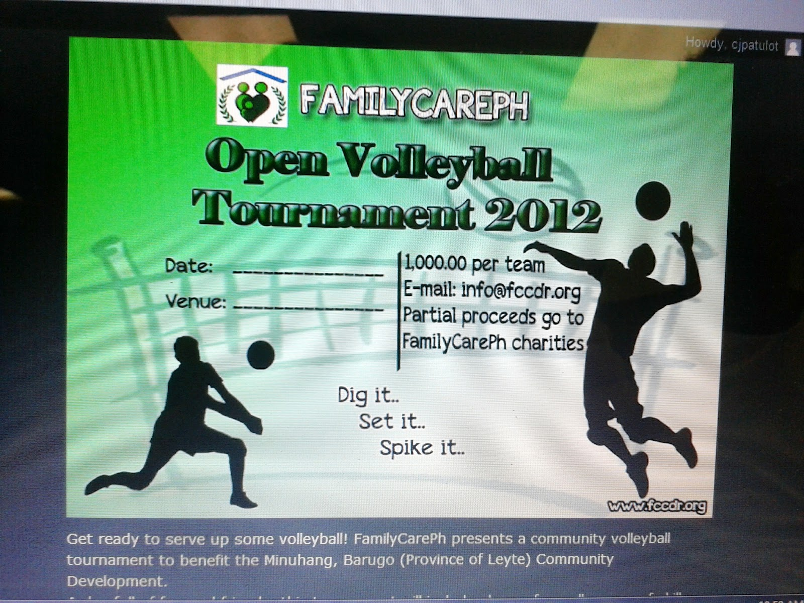 Volleyball Tournament Poster Open Volleyball Tournament