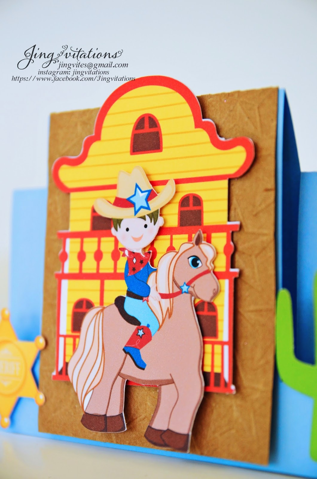 handmade cowboy invitations
