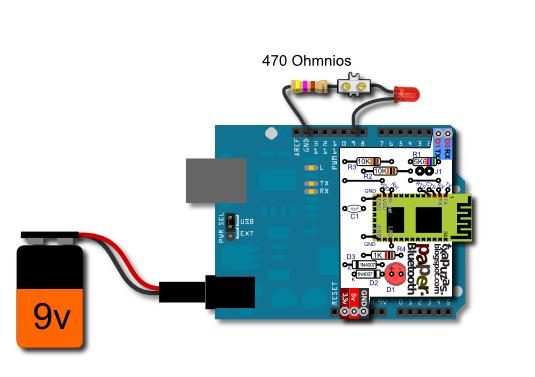 Conectaremos el terminal positivo (el más largo) de un led al pin 9 ...