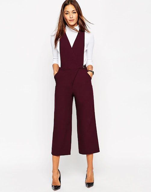 burgundy jumpsuit, burgundy pinafore trousers,