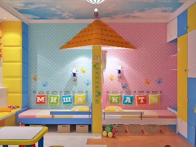 Bright interiors children 39 s rooms and cool designs for for Shared boy and girl room ideas