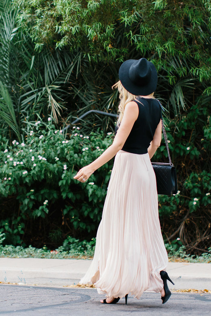 A.L.C., Nat, Wrapped, Black, Crop Top, Kendra Scott, Phara, Long, Tassel, Necklace, Topshop, Felt, Wide Brim, Fedora, Hat, Alice & Olivia, Nude, Pleated, Maxi, Skirt, Tibi, Celine, Ankle Strap, Black, Heels, Chanel, Large, Quilted, Boy, Silver, Chain, Bag, Celine Sunglasses, Summer, Dressy, Caitlin Lindquist, Fashion Blog, Outfit Inspiration, Street Style, Kylee Patterson, Fashion, Photographer, Arizona, Scottsdale, Phoenix, #myphx,