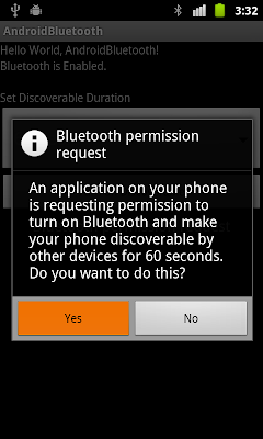 Start Bluetooth Discoverable and register BroadcastReceiver for ACTION_SCAN_MODE_CHANGED