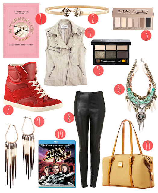 A wishlist including leather leggings, red sneakers, Starship Troopers, Bobbi Brown eyeshodow, lion belt, Dooney & Burke duffle bag, white leather vest, Naked Palette and tribal earings.
