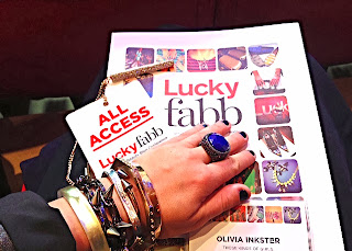 Lucky FABB armswag, armstack, designer bangles and bracelets, Kennth Jay Lane cocktail ring, oversized cocktail ring, blue and rhinestone jewelry, Tiffany's square silver bangle, Lucky magazine swag, All Access pass Lucky Magazine, Lucky blogger, fashion and style blogger