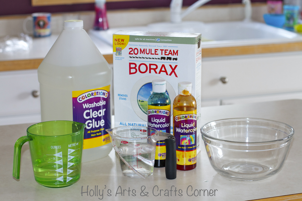 Hollys arts and crafts corner toddler sensory activity diy slime you mix 34 cup warm water and 1 cup clear glue or elmers glue and coloring we used liquid watercolor a few drops was all we needed ccuart Gallery
