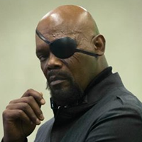 Samuel L. Jackson Bald Actor Nick Fury With Goatee
