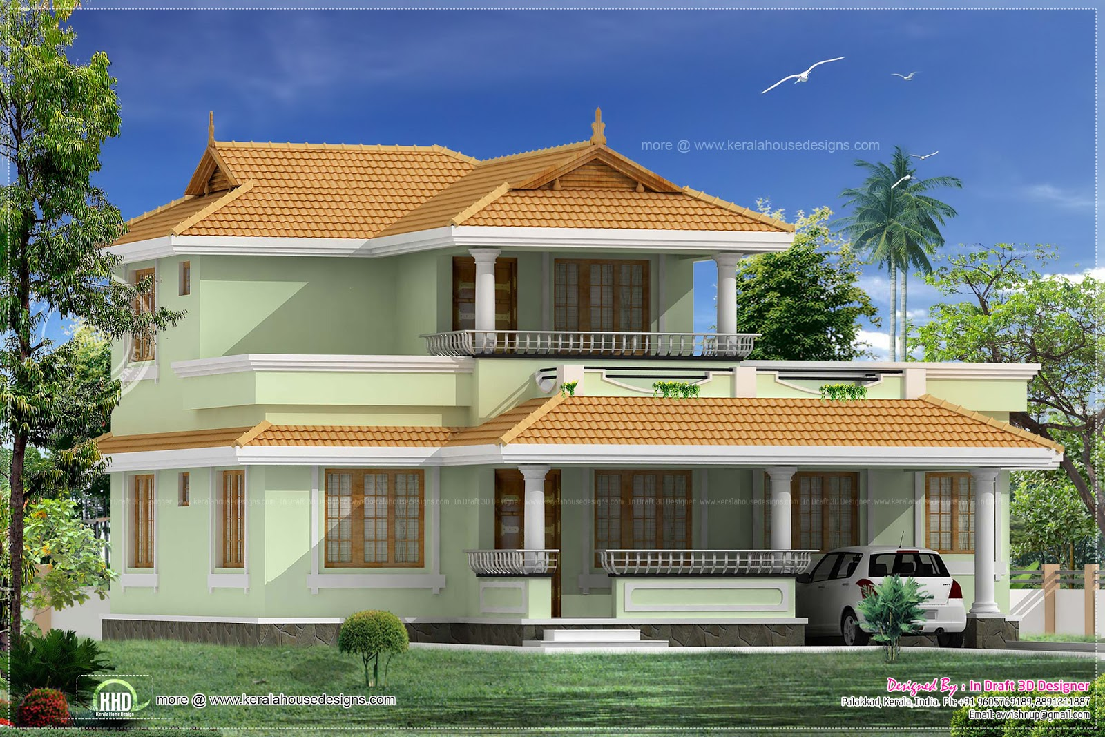 3 bed room kerala traditional villa in 1754 sqft house for Kerala traditional home plans with photos