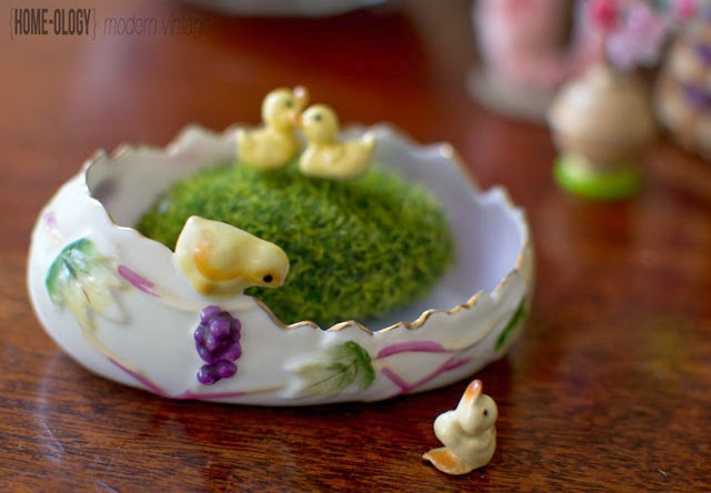 porcelain egg with miniature ducklings
