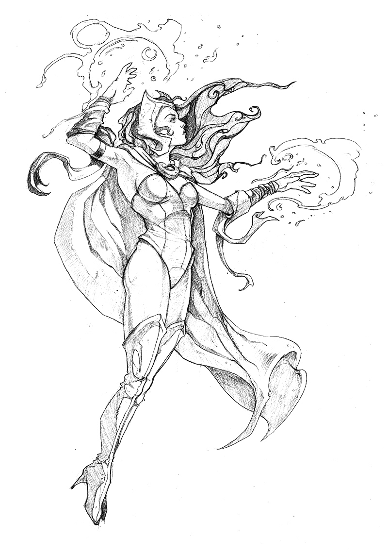 Scarlet Witch Coloring Pages Sketch Coloring Page