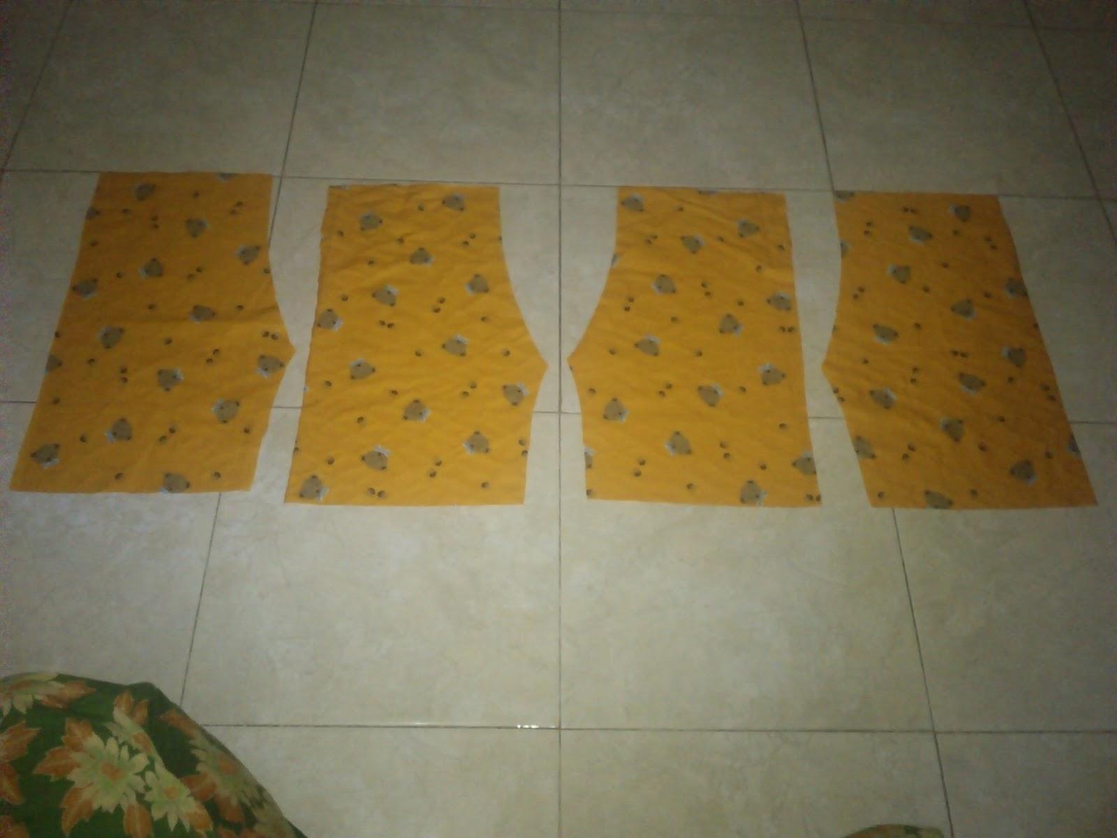 empat potongan kain yang akan disatukan