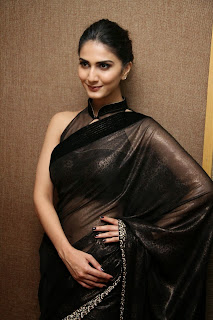 vaani kapoor new  stills in black saree(7)