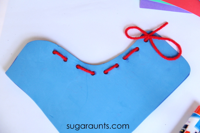 Fine motor lacing activity boot craft for kids