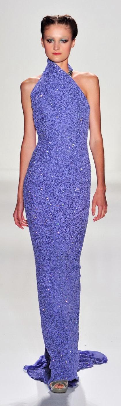 Venexiana Purple Sequin Gown