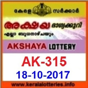 Kerala Lottery Result Today on 18-10-2017 of AKSHAYA (AK-315)