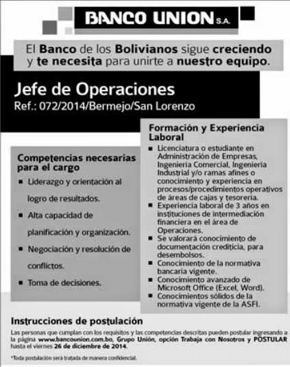 Banco Unión precisa jefe de Operaciones para Bermejo y San Lorenzo
