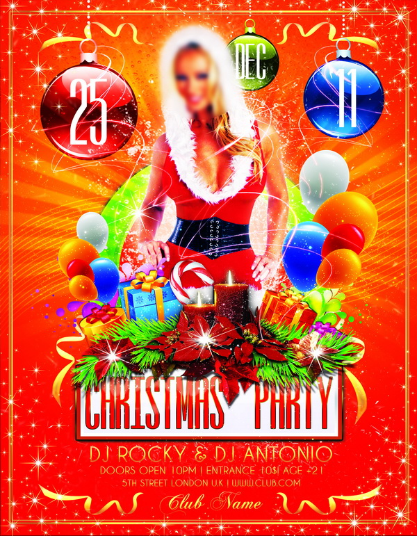 River Christmas Party Concert Flyer Poster