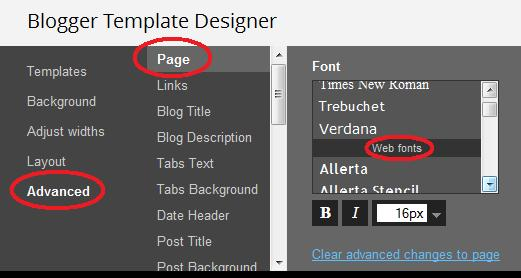 Advanced selection in the Blogger design to Google web fonts