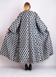 Vintage Lilli Ann black and silver brocade maxi coat