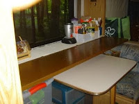 Sliding counter on dinette open for use