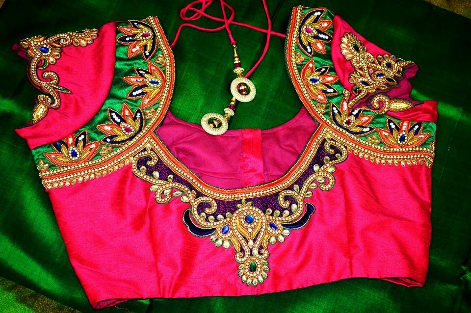 Bridal blouse designs aari neck