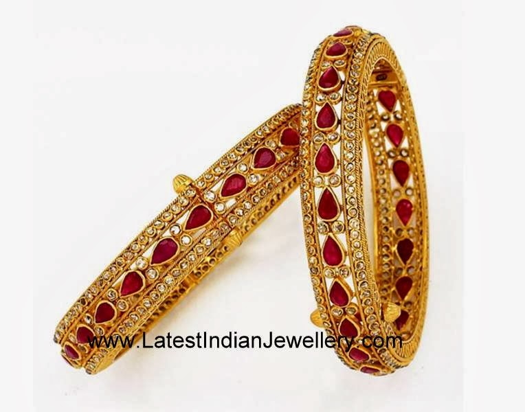 Uncut Diamond Ruby Bangle