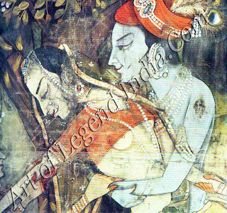Krishna and one of the cowgirls in their ecstatic dance of love. The idea of union with the divine through sexual ecstasy is especially fostered by the mythology of Krishna, portraying the physical manifestation of worship through bhakti or devotion. Detail of cloth painting. Rajasthan, nineteenth century.