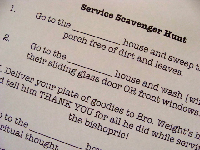 "Sunshine young women activity...""Service Scavenger Hunt."" The youth ..."