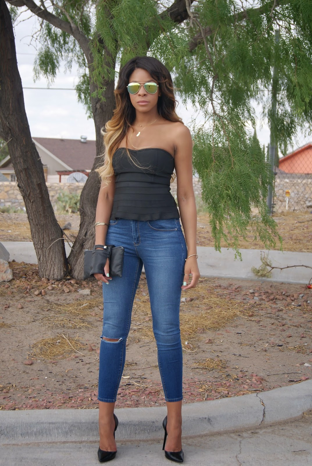 denim and heels, allthingsslim, ombre hair, leather clutch,