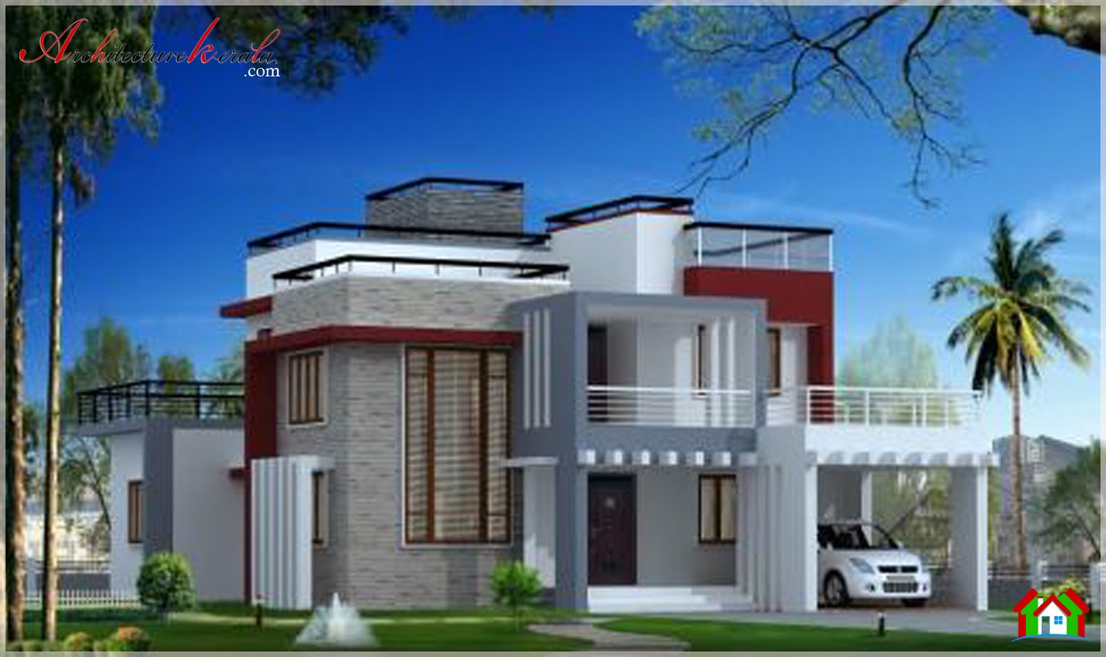 3000 square feet stylish contemporary style house for Home designs kerala architects