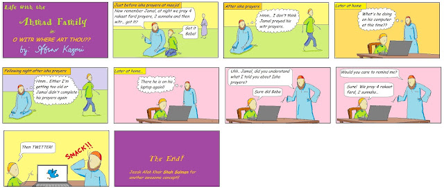 Life with the Ahmad family comic for Muslim children: O Witr Where Art Thou?